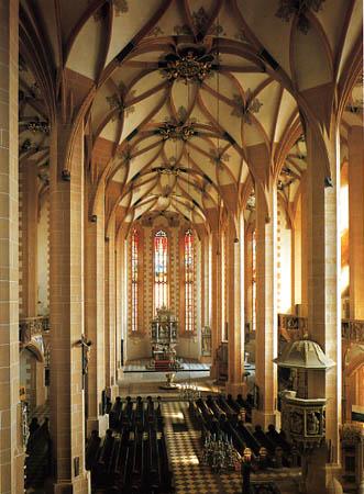 The vaulted nave of St. Anne's Church, Annaberg-Buchholz.